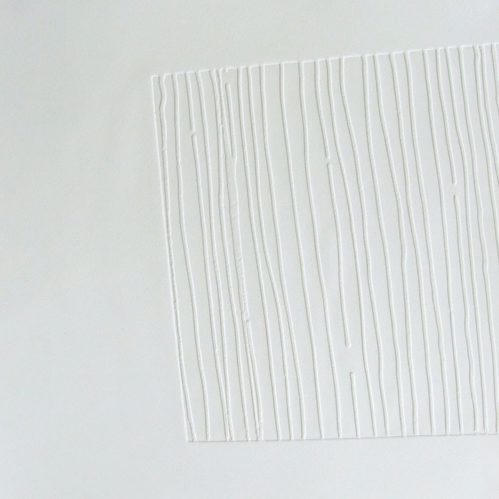 Imprint lines IV, blind embossed saunders waterford paper, 52 x 52cm, limited edition of 6, signed on reverse.