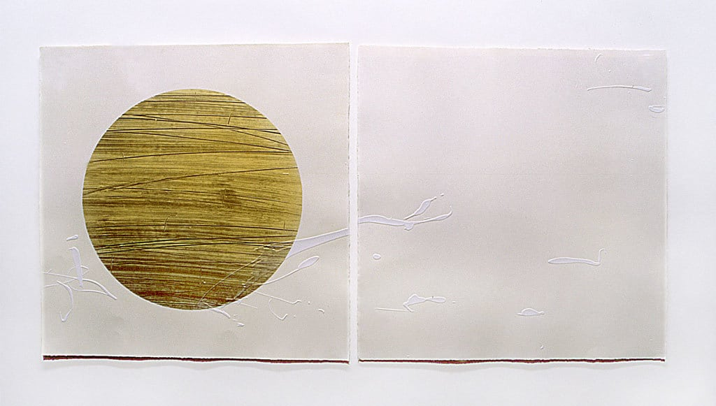 Gold Circle, Embossed lithograph, Dyptich, 140 x 56 cm, Limited edition of 16, Printed as Co-edition with EPW (2001) The Japanese Suite