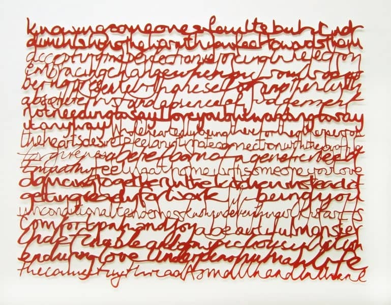 What is Love? laser cut screen print, 90 x 72 cm (unframed size) edition of 50, signed and numbered on reverse. 21 people's hand written answers to the title question.